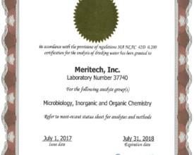 2017 - 2018 Drinking Water Certificate